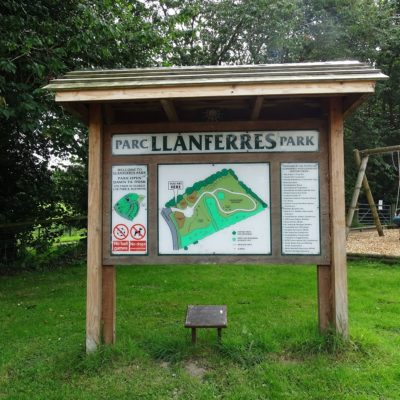 Photo of Llanferres park entrance sign