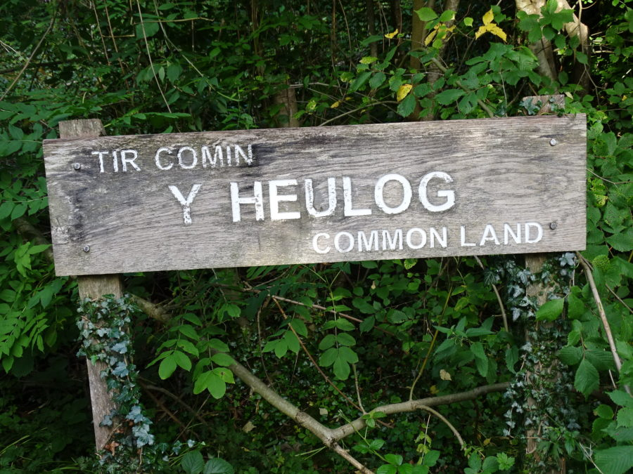 Photo of the Heulog common land entrance sign
