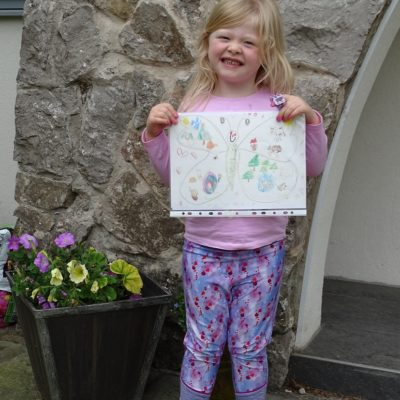 Photo of child displaying her drawing of a butterfly