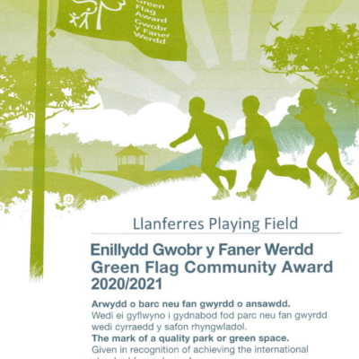 Scan of Green Flag Certificate for Llanferres Playing field