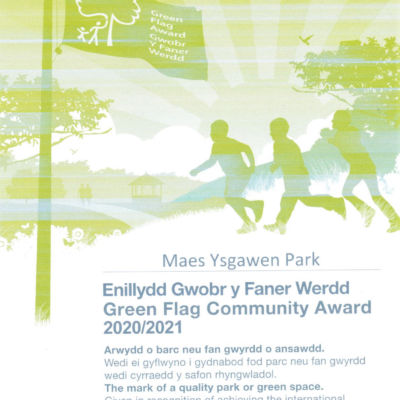 Green Flag Award Certificate Maes Ysgawen Park
